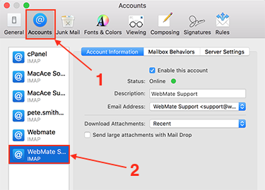Changing your email password in Apple Mail (OS X 10.12 +) - Knowledgebase -  WebMate