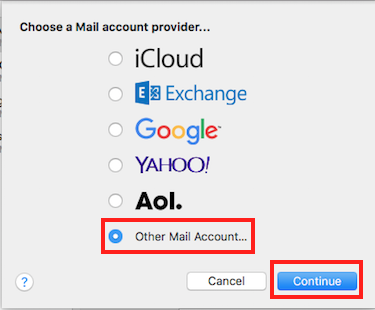 Step 1 - Choose a Mail account provider