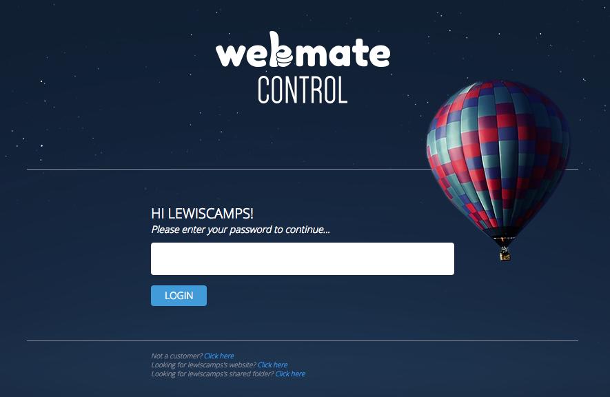Screen shot of WebMate Control Login page